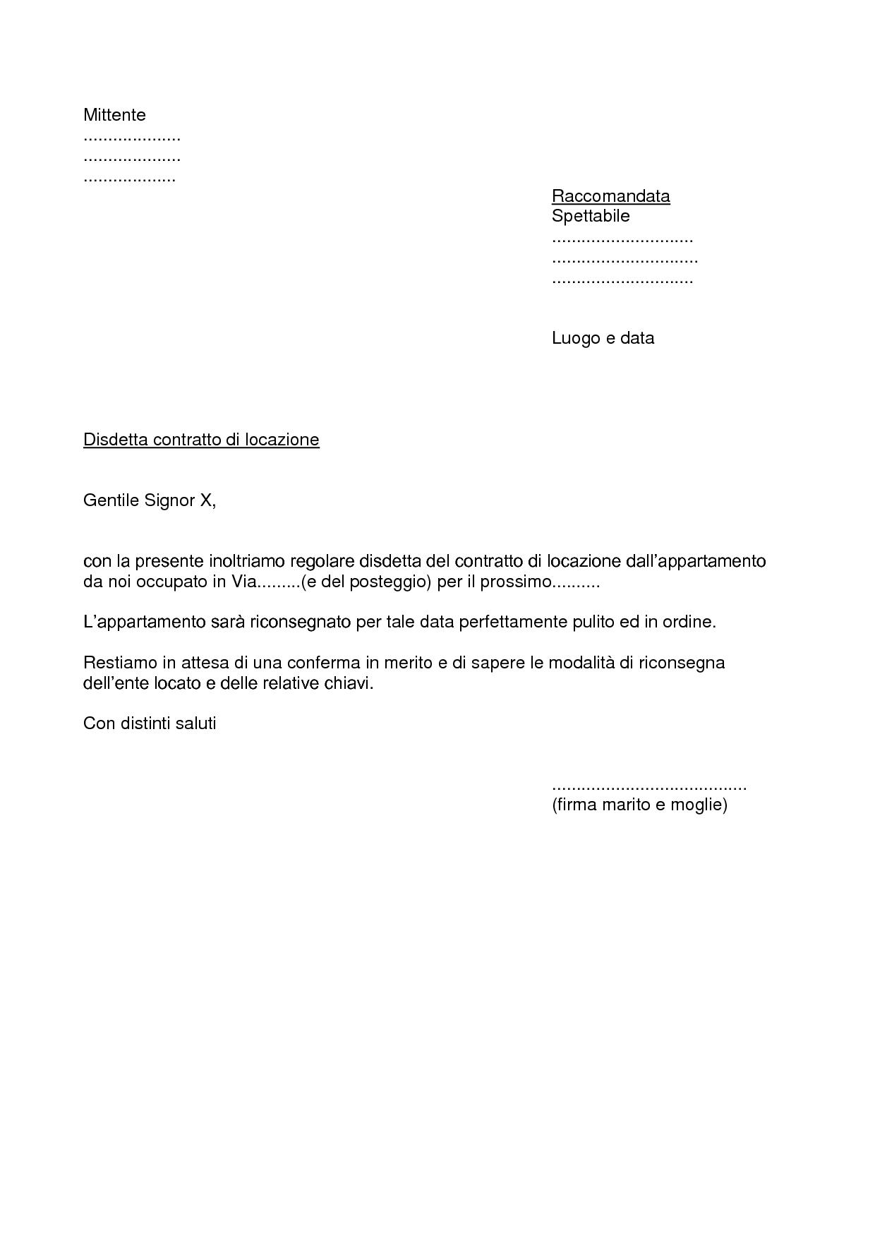 Fac simile lettera di recesso contratto di locazione for Contratto di locazione arredato